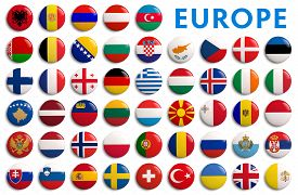 stock photo of flags world  - All European flags by alphabetical order - JPG