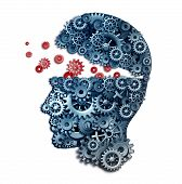 stock photo of brainwashing  - Business teacher and mentorship concept as a learn and lead symbol for career skill building from a corporate trainer as a human head made of gears and cogs on a white background - JPG