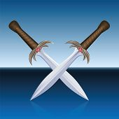 picture of crossed swords  - Two crossed pirate swords - JPG