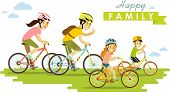 ������, ������: Happy family riding bikes isolated on white background in flat style