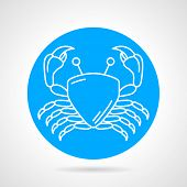 picture of blue crab  - Flat blue round vector icon with white line crab on gray background - JPG