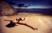 foto of swimsuit model  -  Running woman - JPG