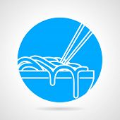 picture of noodles  - Abstract blue round vector icon with white line bowl with noodles and chopstick on gray background - JPG