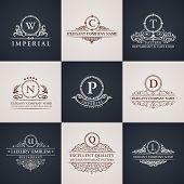 Luxury logo set. Calligraphic pattern elegant decor elements. Vintage vector ornament poster