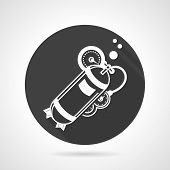 pic of cylinder  - Flat black round vector icon with white silhouette oxygen cylinder for diving on gray background - JPG