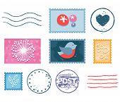 Постер, плакат: Postal Stamp Set