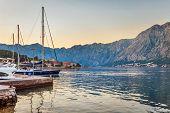 picture of marina  - Sailing boats in marina at sunset - JPG