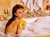 pic of bath tub  - Young woman take bubble  bath - JPG