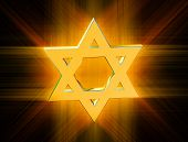 pic of covenant  - stylized image Star of David made of gold in the glow rays - JPG