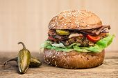 stock photo of jalapeno  - homemade hamburger with fresh vegetables and Jalapeno pepper - JPG