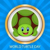 image of green turtle  - illustration of a beautiful turtle with green background for World Turtle Day - JPG
