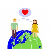 picture of long distance relationship  - illustration dedicated to the love on the earth - JPG
