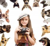 image of petting  - set pet and child photographer on a white background - JPG