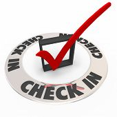 stock photo of confirmation  - Check In words in a ring around a box and mark to illustrate a confirmation or reservation at a hotel or restaurant - JPG