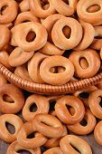 picture of bagel  - Top view of bagels in a wicker bowl - JPG