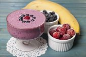 Постер, плакат: Smoothies Of Frozen Strawberries Blueberries And Banana With Yogurt