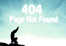 picture of not found  - praying man on beautiful sky background with 404 error page not found cloud text - JPG