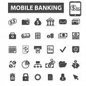 Постер, плакат: mobile banking icons mobile banking logo online banking icons vector online banking flat illustra