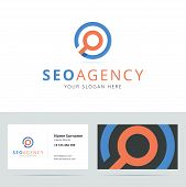 SEO agency logo and business card template. poster