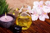 pic of essential oil  - Body care items on bamboo mat - JPG