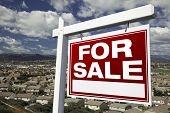 For Sale Real Estate Sign with Elevated Housing Community View - Ready for your own message.