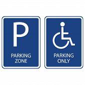 Постер, плакат: Blue Parking Signs