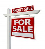 Short Sale Home For Sale Real Estate Sign Isolated on a White Background with Clipping Paths - Right