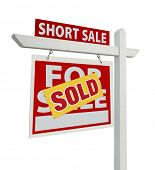 Sold Short Sale Home For Sale Real Estate Sign Isolated on a White Background with Clipping Paths - Left Facing.