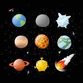 Постер, плакат: Planet Set Dark Background Dark Space Planets Of Solar System By Having Cartoon Style Earth Ju