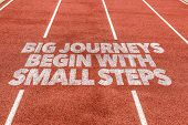 Big Journeys Begin With Small Steps written on running track poster