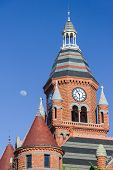 Moon Over The Clock Tower Of Old Red Museum In Dallas,  Texas poster