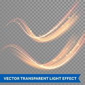 Vector magic glowing spark swirl trail effect on transparent background. Boken glitter wave line wit poster