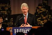 FLUSHING, NY - MARCH 27: Former US President Bill Clinton stumps for his wife, Hillary, at Korea Vil