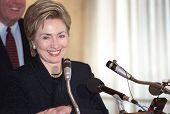 FLUSHING, NY - CIRCA 1998: Former First Lady Hillary Rodham Clinton smiles as she speaks at Electche