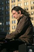 NEW YORK - JULY 1: Keyboardist Bruce Katz performs at Wagner Park on July 1, 2010 in New York City.