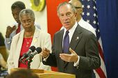 NEW YORK - AUGUST 15:  NYC Mayor Michael Bloomberg (C) speaks to the media about heat related issues