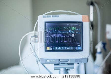 poster of Medical vital signs monitor instrument in a hospital. This health care device displays and monitors