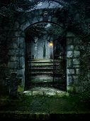 foto of tombstone  - illustration of a dark haunted old house - JPG