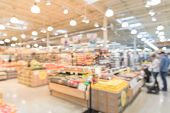 Blurred Organic Fruits And Vegetables On Shelves In Store  At Irving, Texas, Us poster