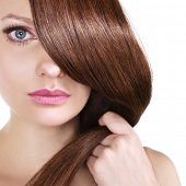 stock photo of brown-haired  - shiny brown hair - JPG