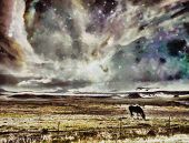Surreal digital art. Horse grazes in the field. Vivid colorful sky with stars and galaxies. 3D rende poster