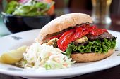 pic of portobello mushroom  - Portobello mushrooms zucchini roasted red peppers red onions and pesto mayo served on focaccia bread - JPG