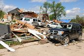 SAINT LOUIS, MO - APRIL 22: Destroyed homes left behind by tornadoes that ravaged the area. April 22