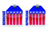 democrat vs republican ballot box illustration