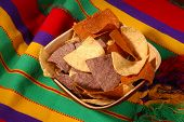 Tortilla Chips in wooden bowl on Mexican blanket