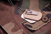 Military Dog Tags resting on camouflage material