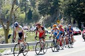 RUNNING SPRINGS, CA - MAY 21: Six cyclists lead the Amgen Tour of California towards the finish in B