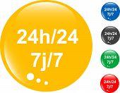 conjunto de botão brilhante de 24h (24 horas)