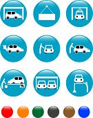 car Auto service blue button set icon