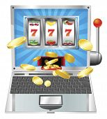 stock photo of slot-machine  - Laptop fruit machine online gambling win concept - JPG